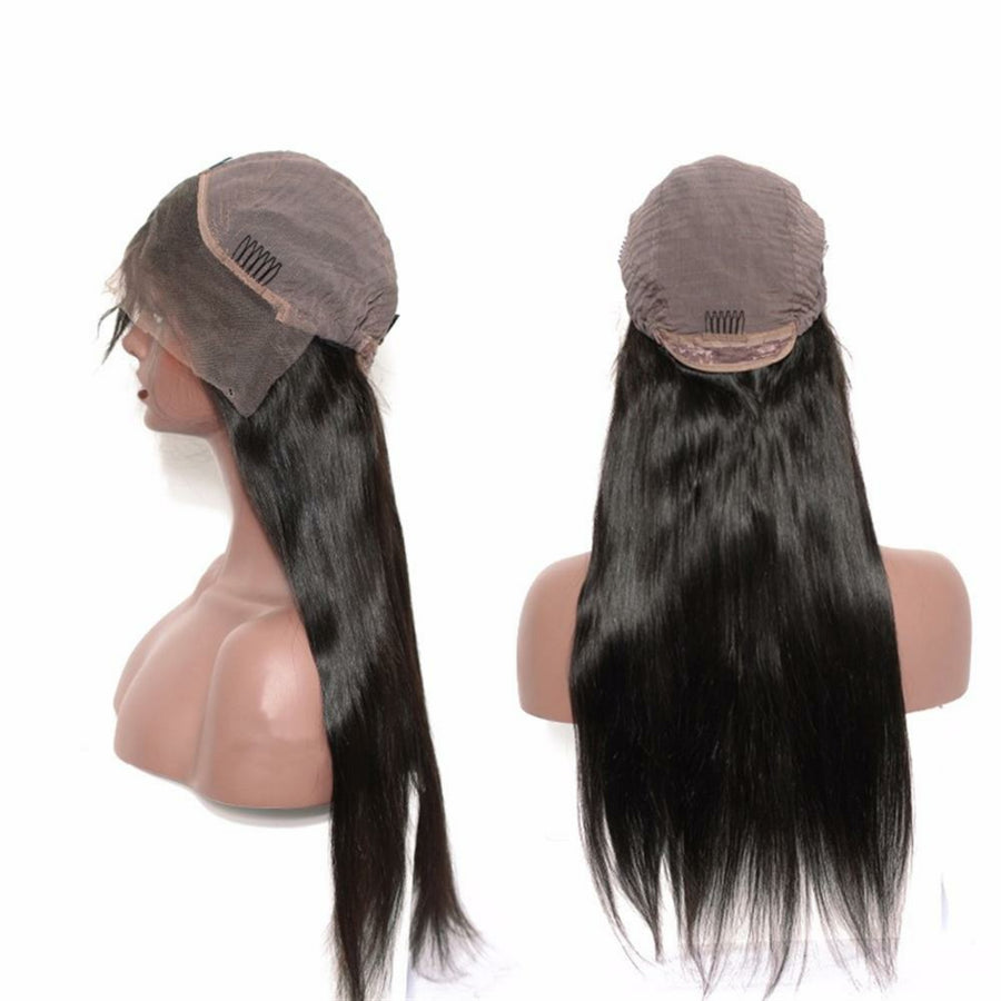 Straight Lace Front wig pre-plucked with baby hairs made with grade 9a hair in natural color 1b. - mslhair