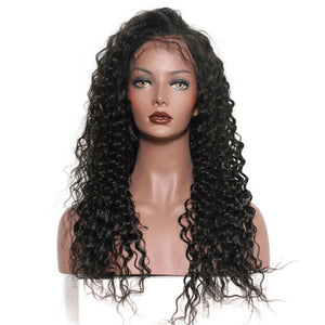 Deep Wave Lace Front wig pre-plucked with baby hairs made with grade 9a hair in natural color 1b. - mslhair