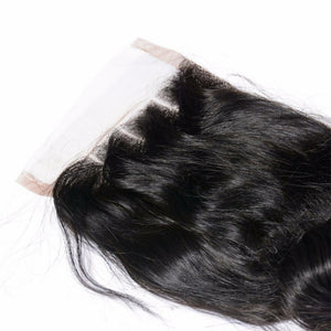 4 By 4 Loosewave Lace Three Part, Middle Part, and Free Part closure, pre-plucked, with baby hairs. Brazilian, European, Indian, Malaysian, Peruvian - mslhair