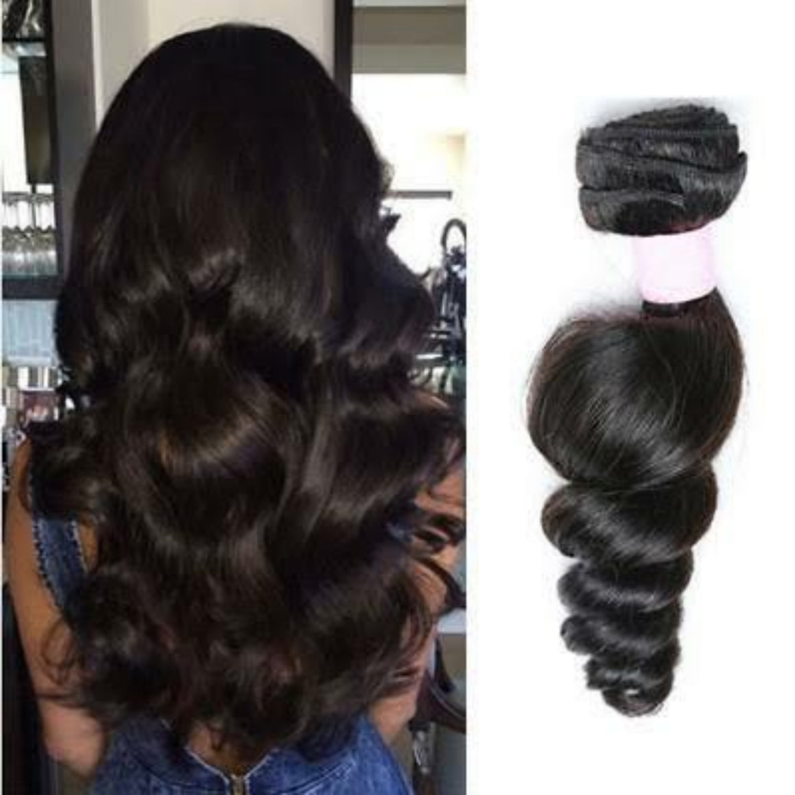 Brazilian Loose wave hair in color 1b, grade 10a - mslhair
