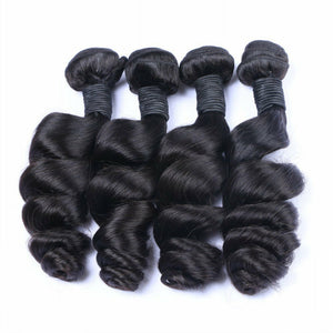 Malaysian Silky Loose wave hair in color 1b, grade 10a - mslhair