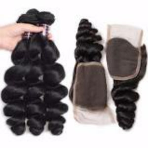 Three bundles of silky Loose wave hair and a 4 by 4 Three Part closure, pre-plucked with baby hair, grade 10a - mslhair