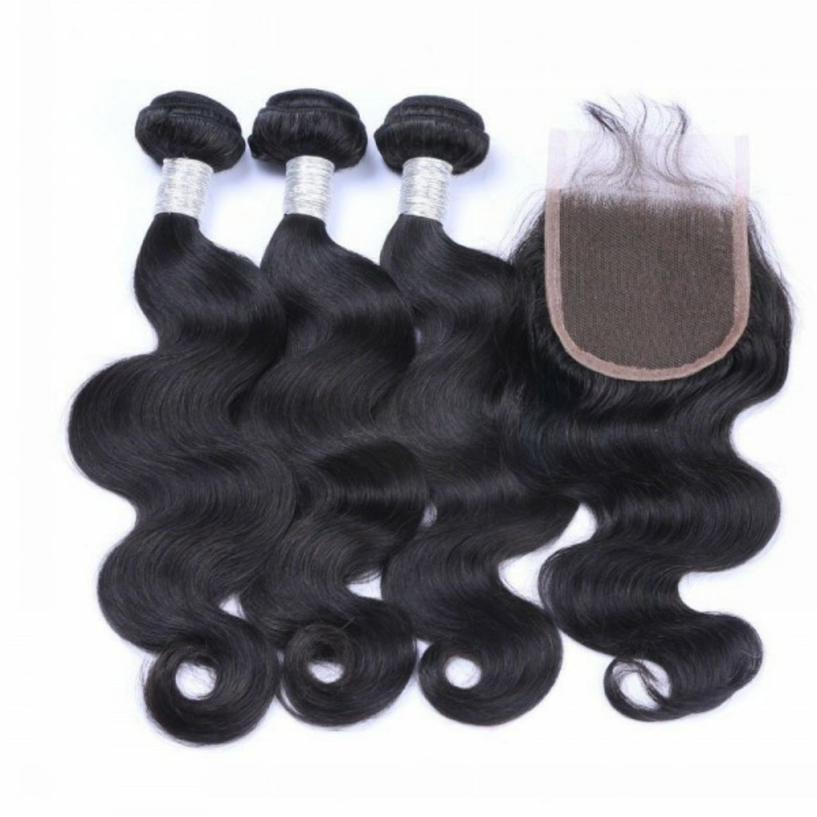 Three bundles of silky Body wave hair and a 4 by 4 Three Part closure, pre-plucked with baby hair, grade 10a - mslhair