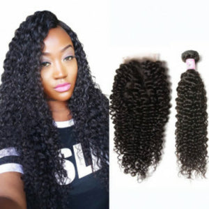 Three bundles of silky jerry Curly hair and a 4 by 4 Free Part closure, pre-plucked with baby hair, grade 10a - mslhair