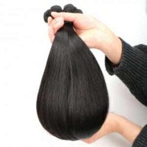 Three bundles of silky Straight Double Drawn hair and a 4 by 4 Three Part closure, pre-plucked with baby hair. - mslhair