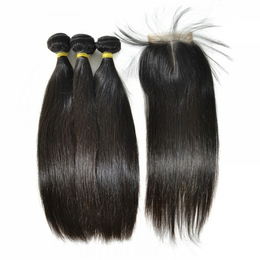 Three bundles of silky straight hair and a 4 by 4 Three Part closure, pre-plucked with baby hair, grade 10a - mslhair