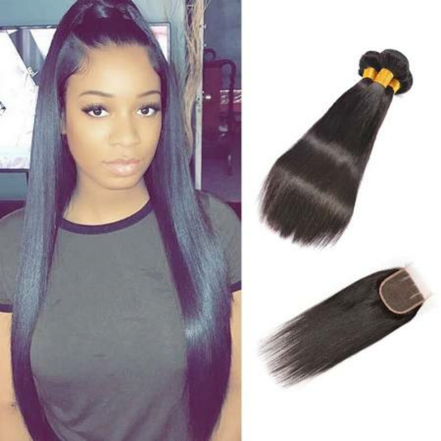 Three bundles of silky Straight hair and a 4 by 4 Three Part closure, pre-plucked with baby hair, grade 9a - mslhair