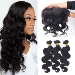 Three bundles of Silky Body wave hair and a 13 by 4 (13x4) ear to ear frontal, pre-plucked with baby hair - mslhair