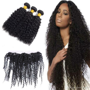 Three bundles of Silky jerry Curly hair and a 13 by 4 (13x4) ear to ear frontal, pre-plucked with baby hair - mslhair