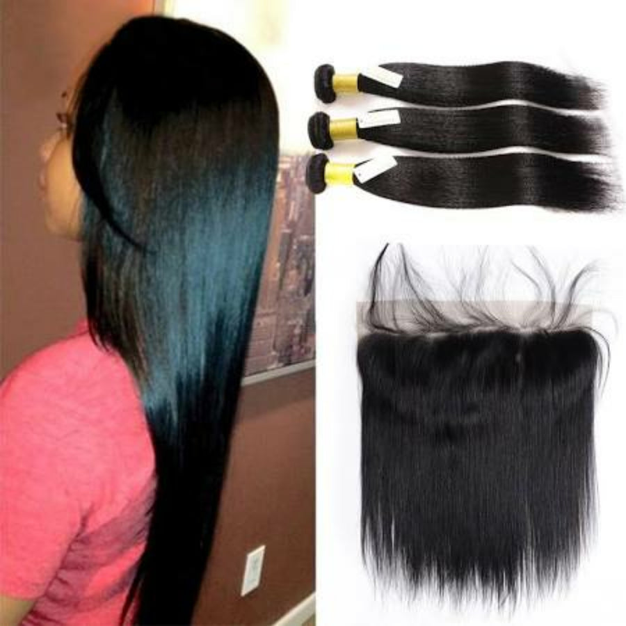 Three bundles of Silky Straight hair and a 13 by 4 (13x4) ear to ear frontal, pre-plucked with baby hair - mslhair