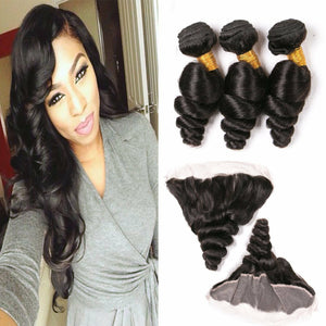 Three bundles of Silky Loose wave hair and a 13 by 4 (13x4) ear to ear frontal, pre-plucked with baby hair - mslhair