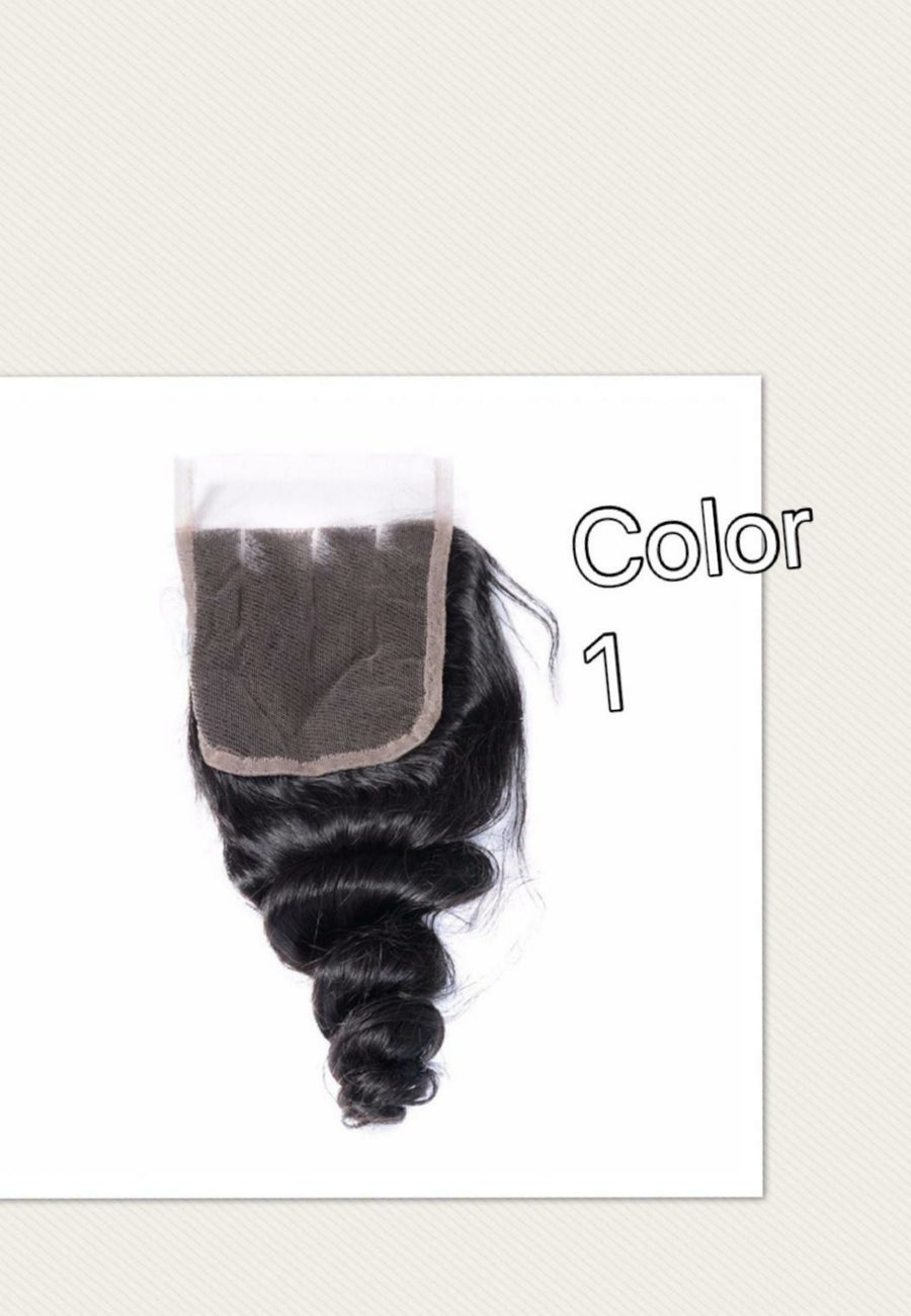 4 By 4 Loose Wave Lace middle part closures in colors 1, 1b/27, 1b/30, and 27, Brazilian, Peruvian,and Malaysian hair pre-plucked with baby hairs. - mslhair