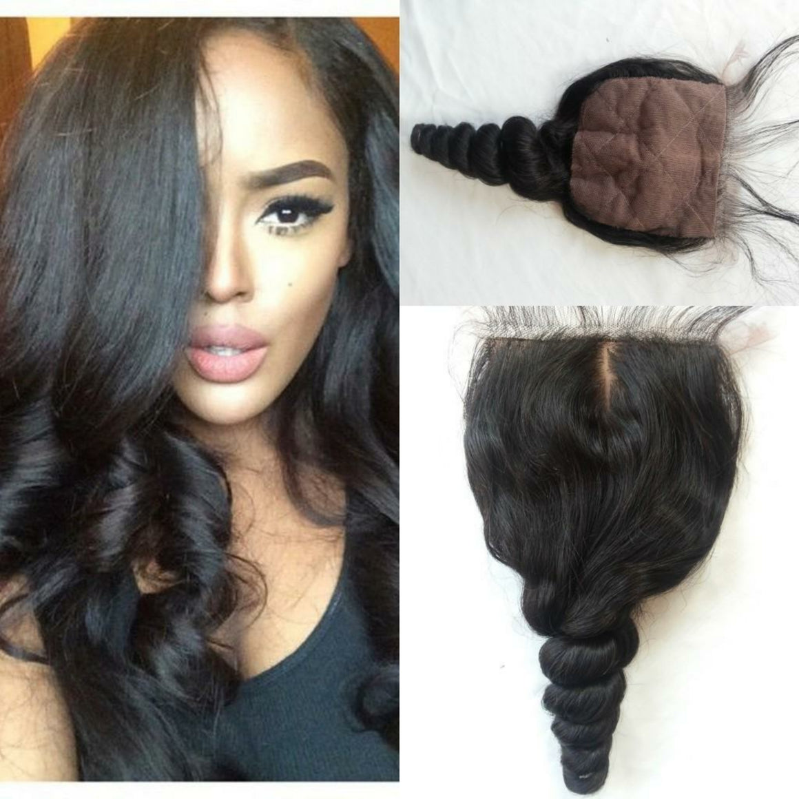 4 By 4 Silk Base Loosewave Three Part, Middle Part, and Free Part closure, pre-plucked, with baby hairs - mslhair