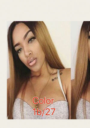 Dyed Straight Lace Front wig with baby hairs and pre-plucked in colors 1, 1b/27,1b/4/30, 613, Grey, and Red. - mslhair