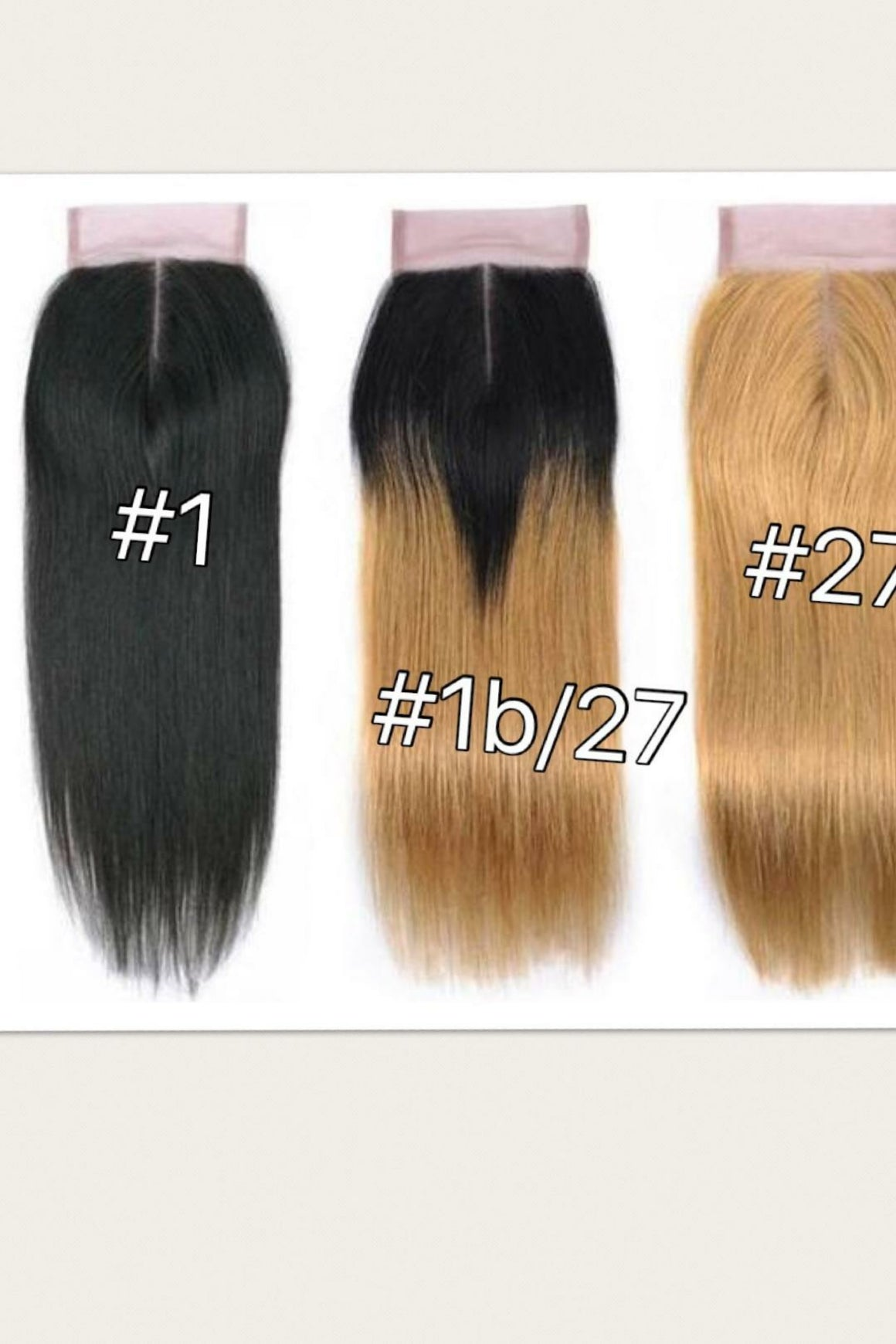 4 By 4 Straight Lace middle part closures in colors 1, 1b/27, 1b/30, and 27, Brazilian, Peruvian,and Malaysian hair pre-plucked with baby hairs. - mslhair