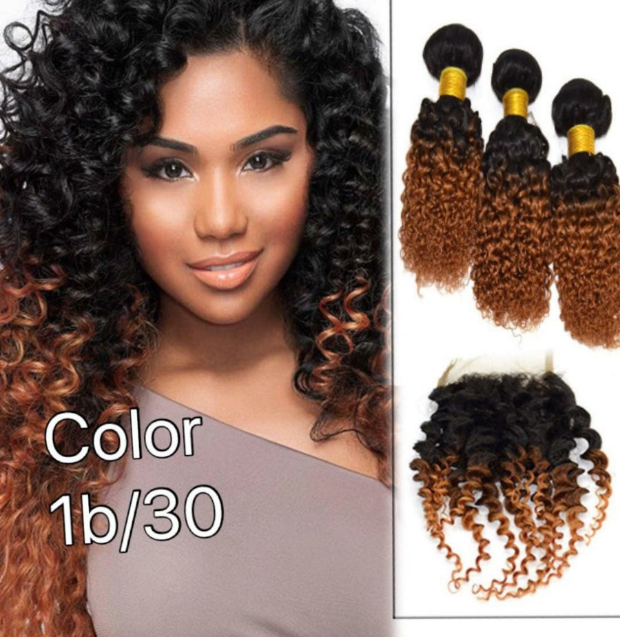 4 By 4 jerry Curly Lace Free part closures in colors 1, 1b/27, 1b/30, and 27, Brazilian, Indian,and Mongolian, Cambodian hair pre-plucked with baby hairs. - mslhair
