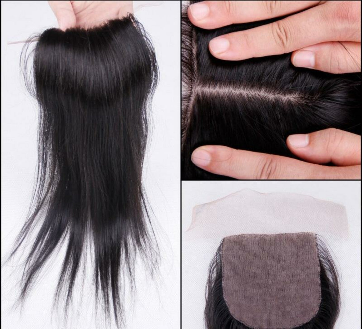 4 By 4 Silk Base Straight Three Part, Middle Part, and Free Part closure, pre-plucked, with baby hairs - mslhair