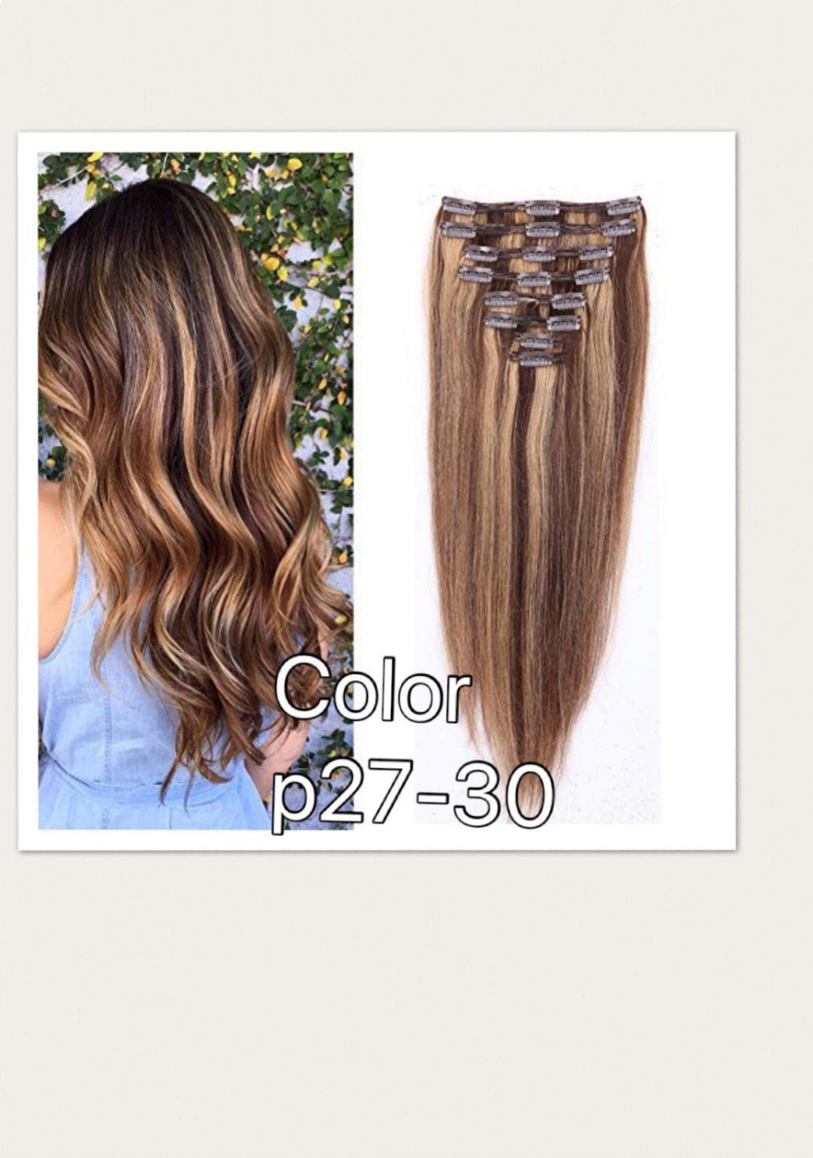 Straight hair clip ins in colors 1,30, P27-30, 613  in Brazillian, European,and Chinese. - mslhair
