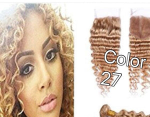 4 By 4 Deep Wave Lace Free part closures in colors 1, 1b/27, 1b/30, and 27, Brazilian, Indian,and Mongolian, Cambodian hair pre-plucked with baby hairs. - mslhair