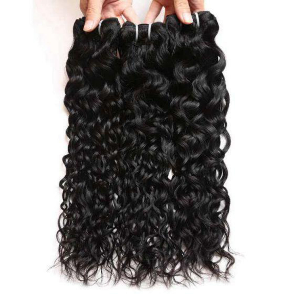 Three bundles of Virgin Natural wave hair and a 4 by 4 Free Part closure, pre-plucked with baby hair, color 1b, grade 10a - mslhair