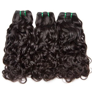 Three bundles of Virgin Water wave hair and a 13 by 4 (13x4) ear to ear frontal, pre-plucked with baby hair - mslhair