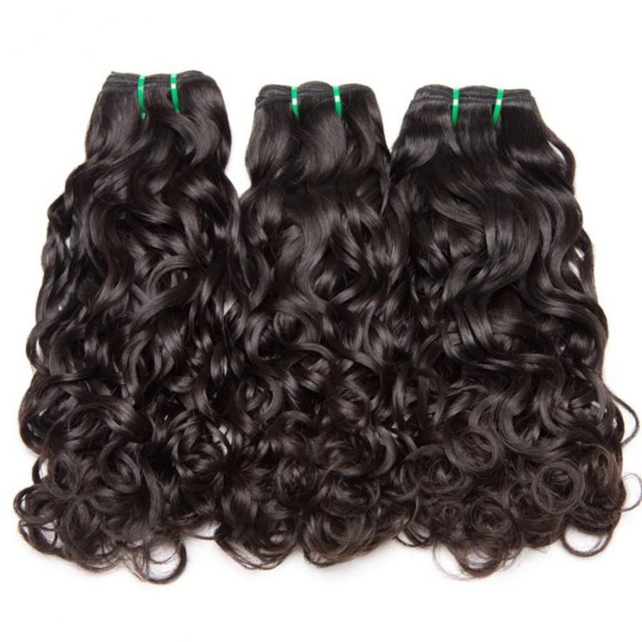 Three bundles of Virgin Water wave hair and a 4 by 4 Free Part closure, pre-plucked with baby hair, color 1b, grade 10a - mslhair