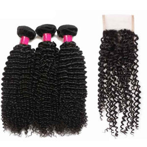 Three bundles of Virgin Kinky curly wave hair and a 4 by 4 Free Part closure, pre-plucked with baby hair, color 1b, grade 10a - mslhair