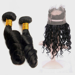 Two bundles Loose wave hair and a 360 lace closure frontal - mslhair