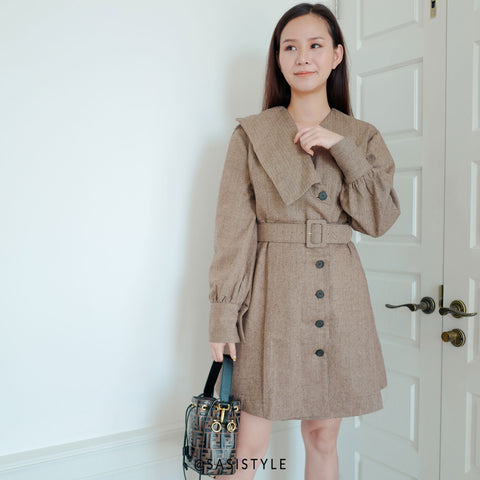 Sasi Vacay Herringbone Shirt Dress with Belt