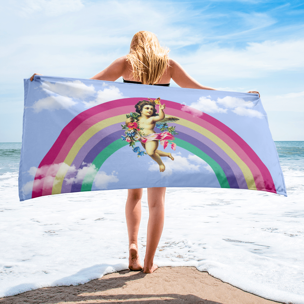 Rainbow Cherub Beach Towel