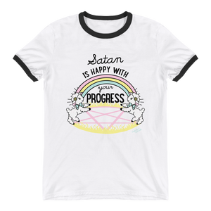 Satan is Happy with your Progress Ringer Tee