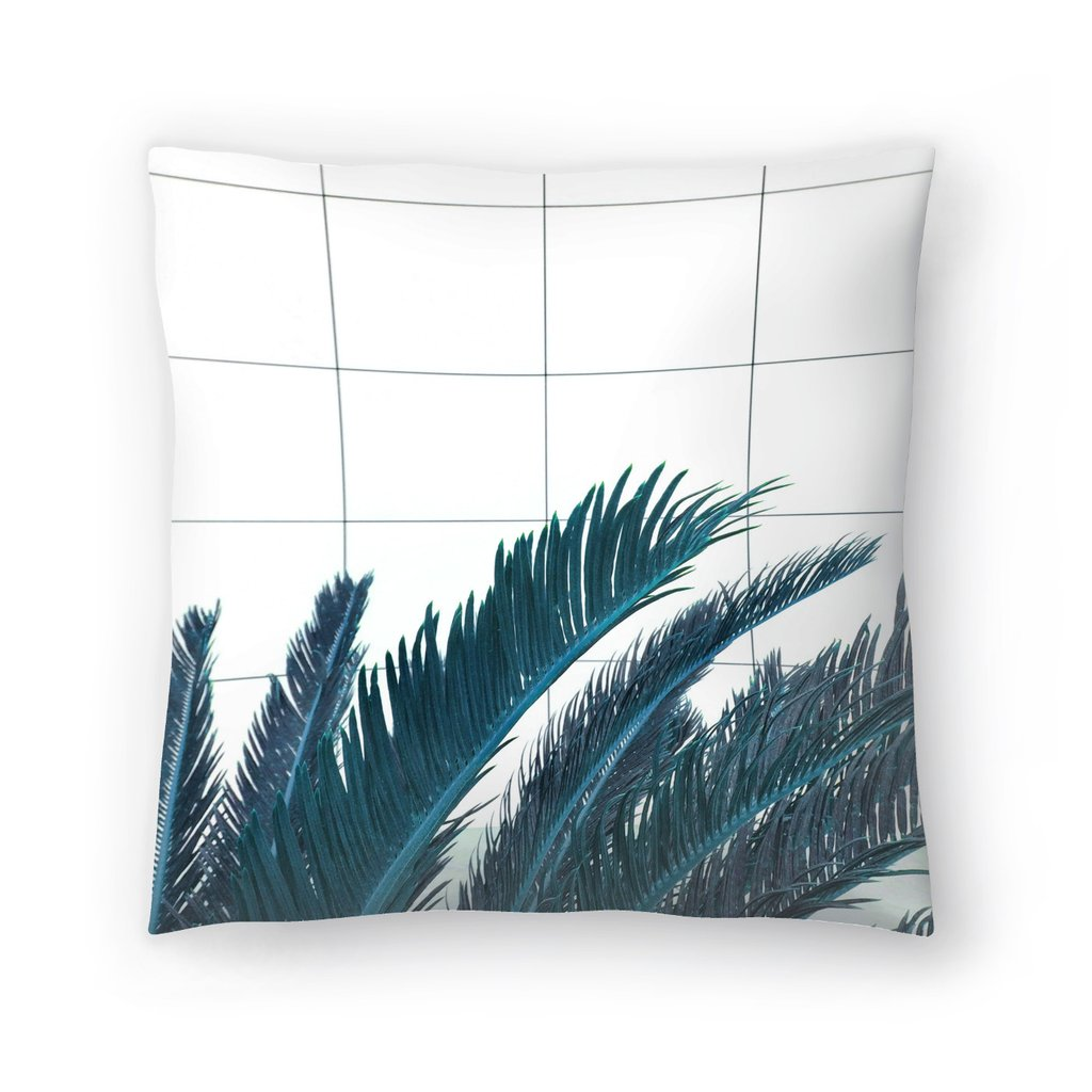 Palm on Grid Throw Pillow