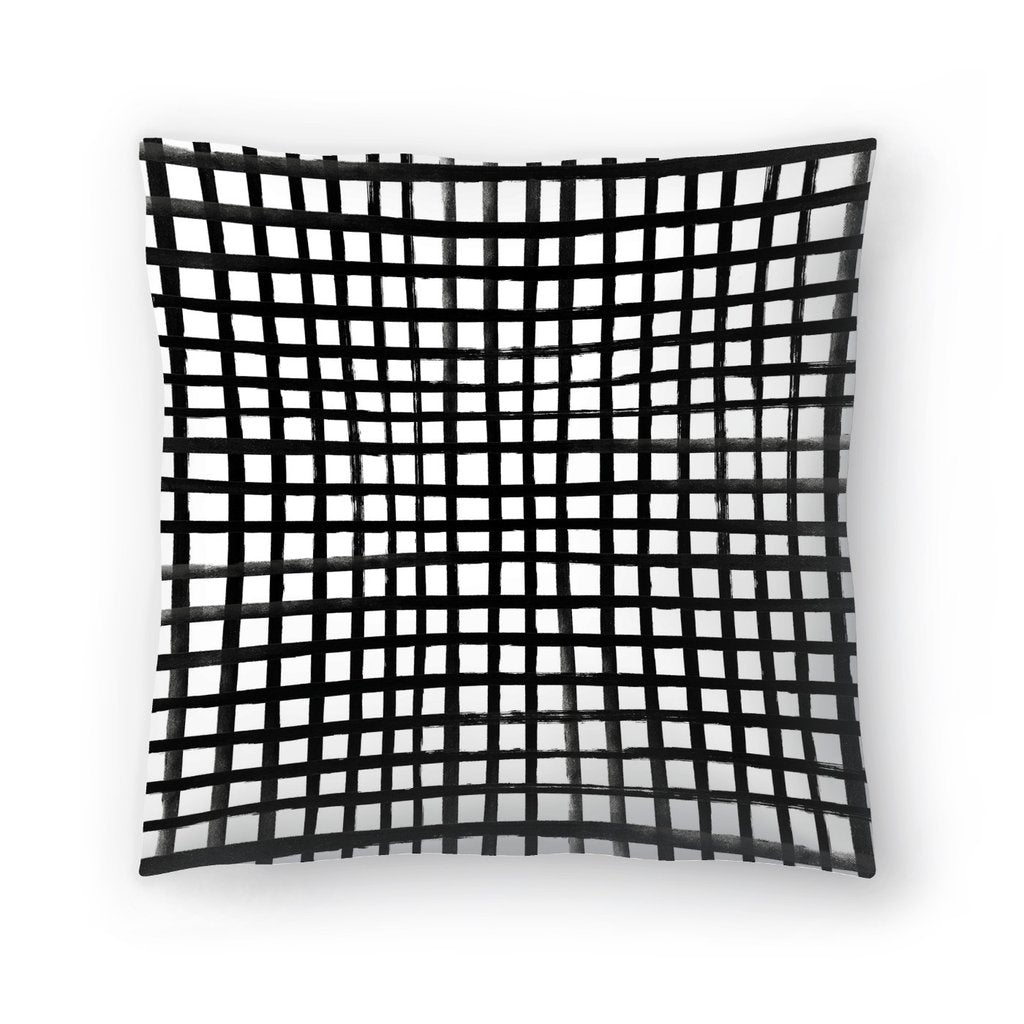 Painted Grid throw Pillow