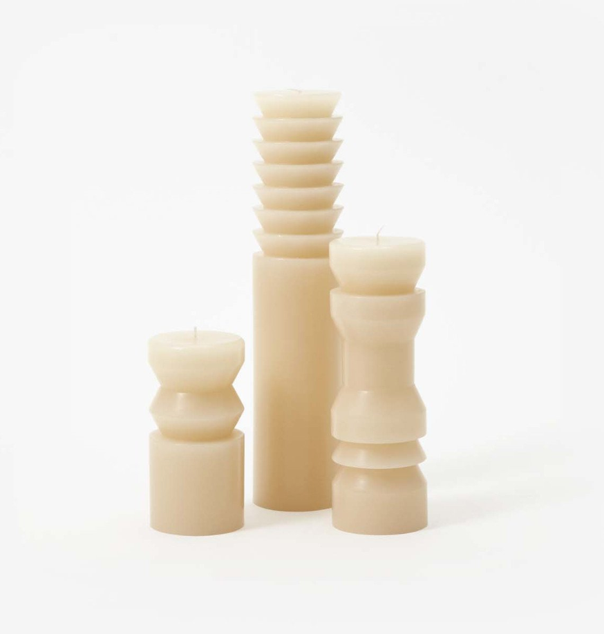 Plinth Candles Sand Set