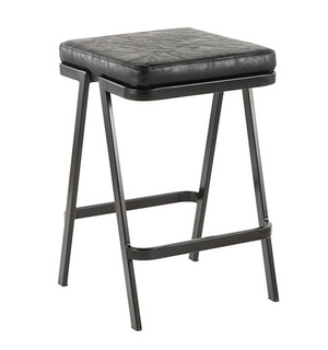 Sleek Black Metal Counter Stool