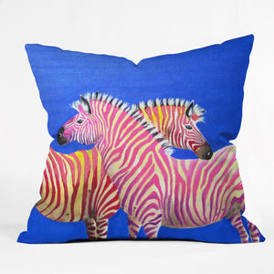 Flamingo Zebras Throw Pillow