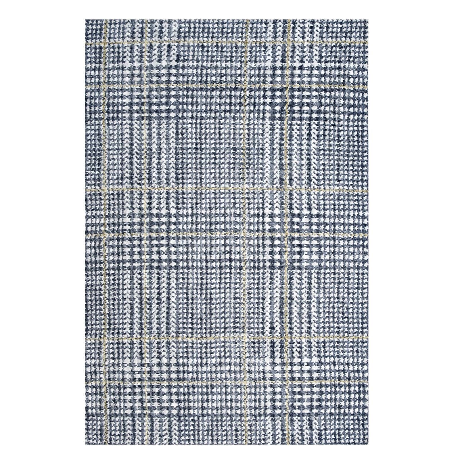 Tamara Abstract Plaid Rug - Ivory/Blue