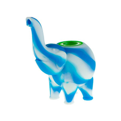 Silicone Elephant Pipe - Blue and White
