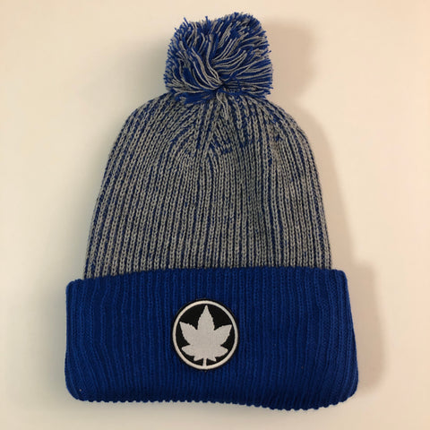 Pom-Pom Toque - Grey/ Blue