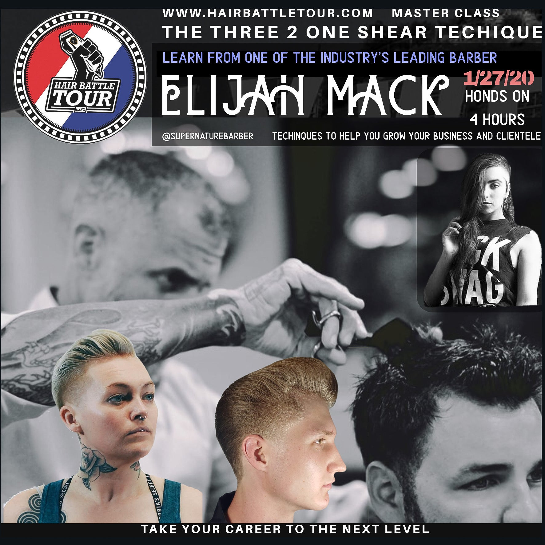 THE THREE 2 ONE SHEAR CUTTING TECHNIQUE BY ELIJAH MACK) 4 HR. LA 1/27/2020 (Free $300 shear with class )