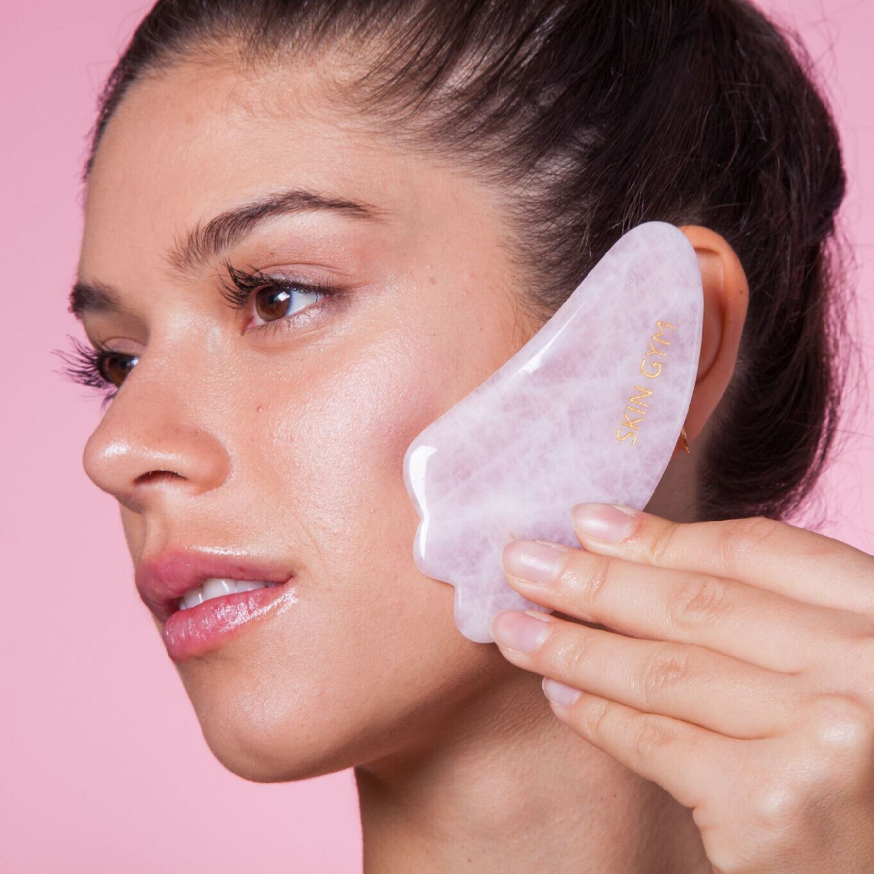 Rose Quartz Workout Set Andlitsrúlla og gua sha sett Skin Gym