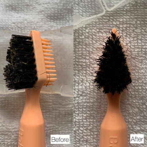 Boar Bristle Brush before and after