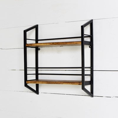 "17"" Modern Wood & Metal Shelf"