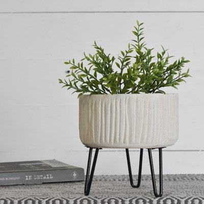 Stripe Planter With Tin Feet