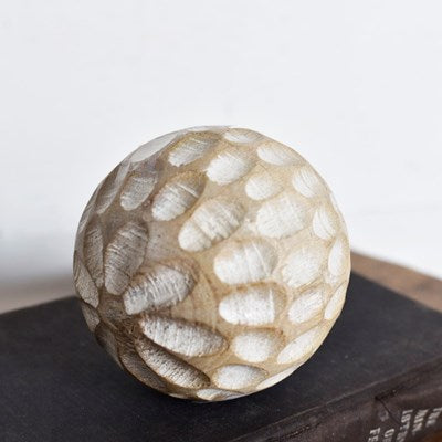 Carved Wood Ball | Dots