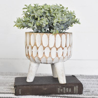 Carved Wood Planter  | 9.25""