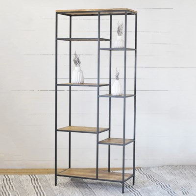 (Lala) Tall Wood & Metal Book Shelf LOCAL PICK UP ONLY