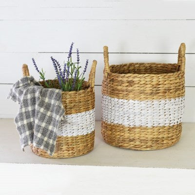 Hyacinth White & Natural Basket | Bohemian Coast