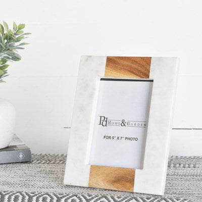 White & Wood Marble Photo Frame