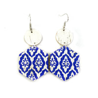 Blue and White Turkish Tile Leather Earrings